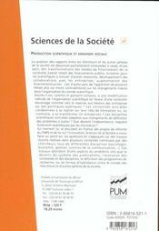 Production Scientifique Et Demande Sociale - 4ème de couverture - Format classique