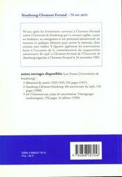 Se souvenir . strasbourg - clermont-ferrand. 50 ans apres - 4ème de couverture - Format classique