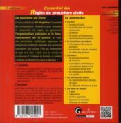 L'essentiel des règles de procédure civile (5e édition) - 4ème de couverture - Format classique