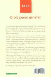 Droit Penal General ; 18e Edition - 4ème de couverture - Format classique