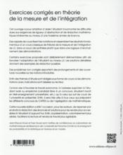 Exercices corriges en theorie de la mesure et de l integration - 4ème de couverture - Format classique