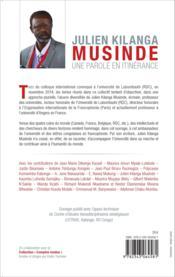 Julien Kilanga Musinde ; une parole en itinérance ; réflexions et témoignages sur un parcours intellectuel - Couverture - Format classique