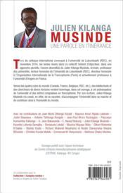 Julien Kilanga Musinde ; une parole en itinérance ; réflexions et témoignages sur un parcours intellectuel - 4ème de couverture - Format classique