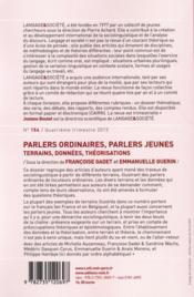 Langage & société N.154 ; parlers ordinaires, parlers jeunes ; terrains, données, théorisations - 4ème de couverture - Format classique