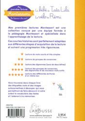 Mes premières lectures Montessori ; le vélo de Rémi - 4ème de couverture - Format classique