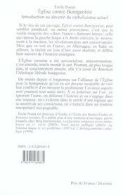 Eglise contre bourgeoisie introduction au devenir du catholicisme actuel - 4ème de couverture - Format classique