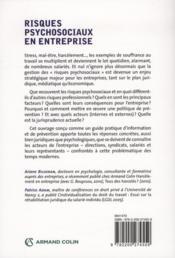 Risques psychosociaux en entreprise ; les solutions psychologiques et juridiques - 4ème de couverture - Format classique
