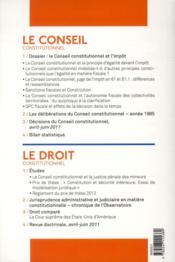 LES NOUVEAUX CAHIERS DU CONSEIL CONSTITUTIONNEL N.33 ; le Conseil constitutionnel et l'impôt - 4ème de couverture - Format classique