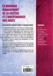 Le nouveau management de la justice et l'indépendance des juges - 4ème de couverture - Format classique
