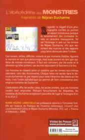 L'abecedaire des monstres : fragments de rejean ducharme - 4ème de couverture - Format classique