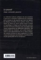 Culture Antique Le Pouvoir: Diriger Commander Gouverner - 4ème de couverture - Format classique