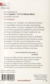 Terrorismes ; histoire et droit - 4ème de couverture - Format classique