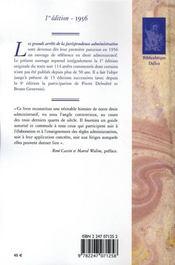 Les grands arrêts de la jurisprudence administrative (édition 1956) - 4ème de couverture - Format classique