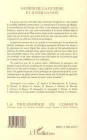 Guerir De La Guerre Et Juger La Paix - 4ème de couverture - Format classique
