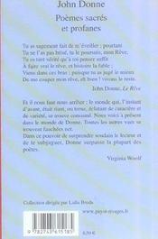 Poemes Sacres Et Profanes - 4ème de couverture - Format classique