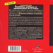 Essentiel des institutions politiques et admiistatrives enfrance, 4eme edition (l') (4e édition) - 4ème de couverture - Format classique