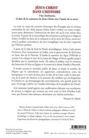 Jésus-Christ dans l'histoire (édition 2010) - 4ème de couverture - Format classique