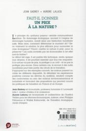 Faut-il donner un prix à la nature ? - 4ème de couverture - Format classique