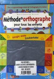 Pack méthode et activités d'orthographe pour tous les enfants - 4ème de couverture - Format classique