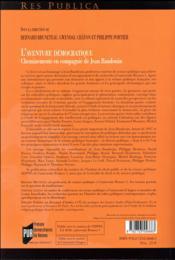 L'aventure démocratique ; cheminements en compagnie de Jean Baudouin - 4ème de couverture - Format classique