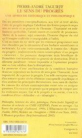 Le sens du progrès ; une approche historique et philosophique - 4ème de couverture - Format classique