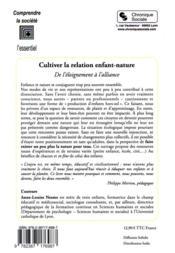 Cultiver la relation enfant-nature ; de l'éloignement à l'alliance - 4ème de couverture - Format classique