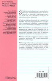 L'Entreprise Face Aux Risques Professionnels ; Des Aspects Juridiques Aux Implications Financieres - 4ème de couverture - Format classique