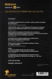 Revue Reseaux N.28 ; Les Nouvelles Formes Des Collectifs - 4ème de couverture - Format classique