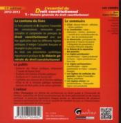 L'essentiel du droit constitutionnel t.1 (édition 2012) - 4ème de couverture - Format classique
