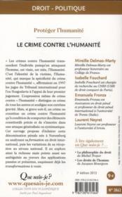 Le crime contre l'humanité (2e édition) - 4ème de couverture - Format classique