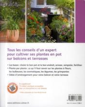 Jardiner sur mon balcon ; l'essentiel pour réussir la culture des plantes en pot - 4ème de couverture - Format classique
