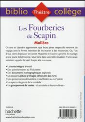 Les fourberies de Scapin - 4ème de couverture - Format classique