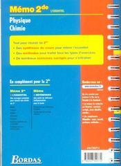Memo physique chimie 2de - 4ème de couverture - Format classique