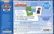 Le jeu de lecture Pat'patrouille ; MS-GS - 4ème de couverture - Format classique