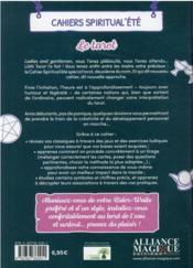 Cahiers Spiritual'été ; le tarot (édition 2021) - 4ème de couverture - Format classique