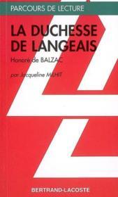 Le duchesse de Langeais, d'Honoré de Balzac - Couverture - Format classique