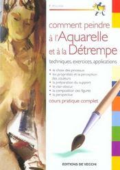 Comment Peindre A L'Aquarelle Et E La Detrempe - Intérieur - Format classique