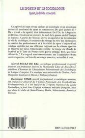 Le Sportif Et Le Sociologue ; Sport Individu Et Societe - 4ème de couverture - Format classique