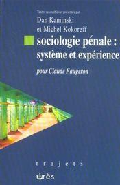 Sociologie penale - systeme et experience - Intérieur - Format classique