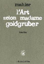 L'art selon madame Golgruber ; insulte - Couverture - Format classique