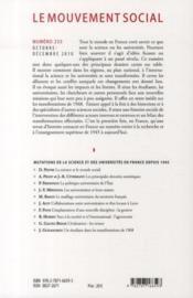 Revue Le Mouvement Social N.233 ; Mutations De La Science Et Des Universités En France Depuis 1945 - 4ème de couverture - Format classique