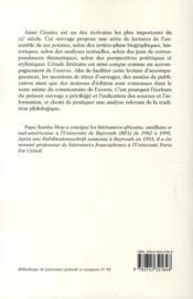 La poésie d'Aimé Césaire ; propositions de lecture - 4ème de couverture - Format classique