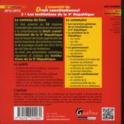 Essentiel du droit constitutionnel t.2 ; les institutions de la V République (12e édition) - 4ème de couverture - Format classique