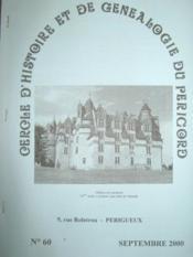 Cercle d'Histoire et de Généalogie du Périgord. Bulletin n° 60. - Couverture - Format classique
