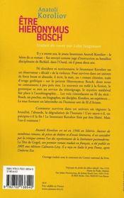 Être Hieronimus Bosch - 4ème de couverture - Format classique