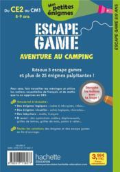 Escape game ; aventure au camping ; du CE2 au CM1 - 4ème de couverture - Format classique