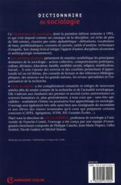 Dictionnaire de sociologie (4e édition) - 4ème de couverture - Format classique