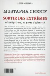 Sortir des extrêmes ; ni intégrisme, ni perte d'identité - 4ème de couverture - Format classique