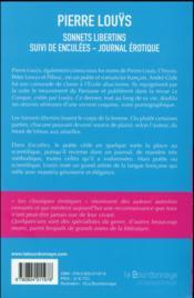 Sonnets libertins ; enculées, journal érotique - 4ème de couverture - Format classique