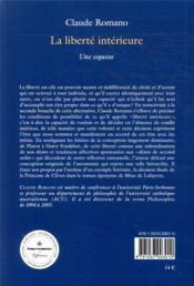 La liberté intérieure ; une esquisse - 4ème de couverture - Format classique